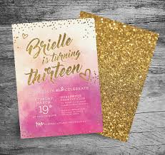13th birthday party ideas 13th birthday party invitation 5x7 watercolor gold glitter