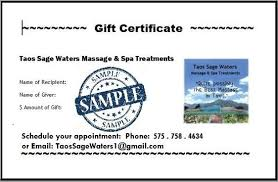 email gift certificates taos waters gift certificates