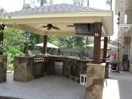 how to build an outdoor kitchen with metal studs roofs over