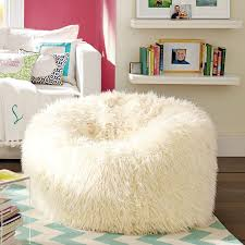 Fuzzy White Chair Ivory Furlicious Faux Fur Beanbags Pbteen