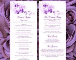 purple wedding programs printable wedding program fan template orchid for