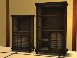 second life marketplace japanese antique bookcase with books and