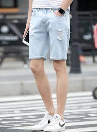 mens light blue shorts light blue straight leg ripped casual denim shorts azbro com