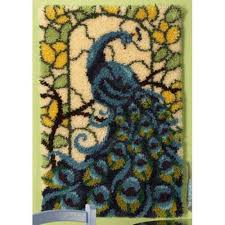 Hook Latch Rugs Craftways Stained Glass Peacock Latch Hook Kit