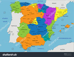 Espana Map Colorful Spain Political Map Clearly Labeled Stock Vector