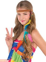 long hair equals hippie adults 60s hippie accessories mens ladies hippy 70s fancy dress