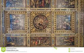 oil paintings decorating the interior ceilings of palazzo vecchio