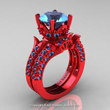 red gold rings images Exclusive french 14k red gold 3 0 ct blue from artmasters on etsy jpg