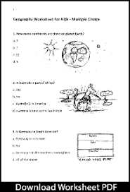 geography multiple choice worksheet for kids u2013 free pdf download