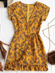 print dress plunging neck ruffles floral print dress earthy print dresses s