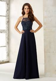 chiffon a line bridesmaids dress with beaded bodice morilee
