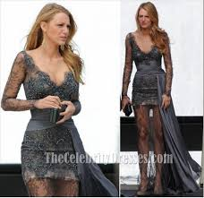 blake lively gray lace prom dress gossip fashion gown