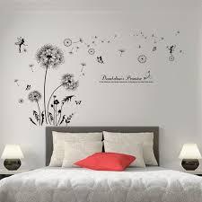 sticker pour chambre shijuehezi black color dandelions wall stickers vinyl diy flower