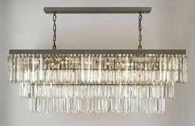 lighting retro odeon glass fringe rectangular chandelier for