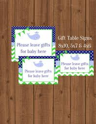 Green Table Gifts by Whale Gift Table Signs Nautical Gift Table Signs 3 Whale