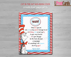 guest sign in books printable personalized dr seuss cat in the hat guest book sign