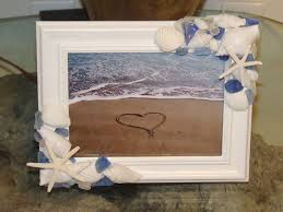 beach decor seaglass and shell frame custom made sea glass and