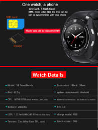 2017 smart watch v8 round dial bluetooth smartwatch phones