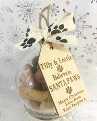 personalised santa paws doggie biscuit bauble christmas gift for