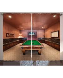 Billiard Room Decor Decor Curtain Pool Table Billiard Print 2 Panel Window Drapes