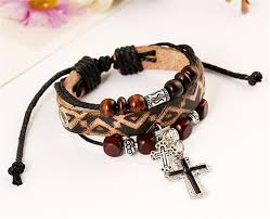 leather bracelet with cross images Leather bracelet with cross abakade store jpg