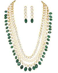 green necklace set images Sanara indian bollywood ethnic jadau kundan stone jpg