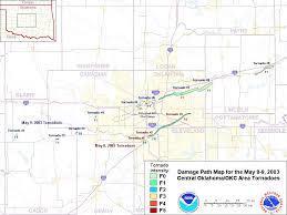Map Oklahoma Approximate Tornado Track Map For The May 8 2003 Oklahoma City