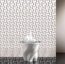 grand entryway decors with 3d wall panels in white also round art