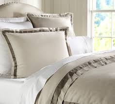 linen with silk trim duvet cover u0026 sham pottery barn