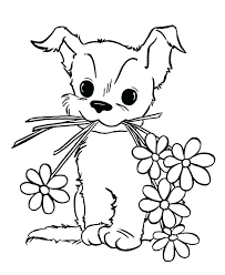 Kitten Coloring Pages Free Cute Little Page Printable Thaypiniphone Puppy Color Pages