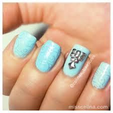 baby blue nails with studs misscelina nail art
