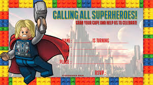 free lego thor birthday invitation template drevio invitations