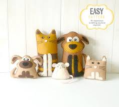 cat and dog sewing patterns felt cat dog kitten puppy u0026 mouse