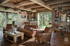 Rustic Family Room With Exposed Beam By Locati Architects Zillow - Family room leather furniture