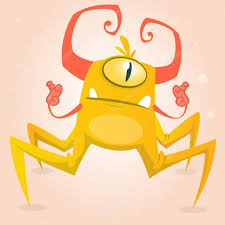 Cute Halloween Monsters by Cute Cartoon Monster Spider Halloween Yellow And Horned Monster
