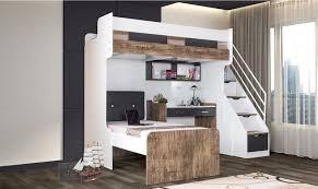 lit superpos bureau lit superposé enfant avec bureau blanc et naturel cris 90