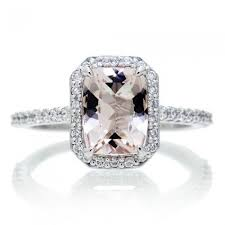 morganite engagement ring gold 8x6 cushion halo engagement ring 14k white gold