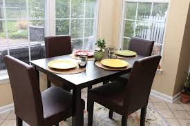 parsons dining room table 5pc espresso dining room kitchen set table 4 brown leather parson