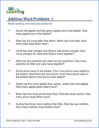 1st grade word problem worksheets free and printable k5 learning