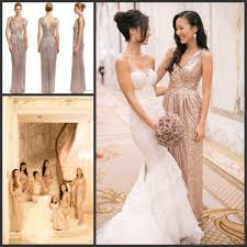 selling rose gold sequins bridesmaid dresses v neck long floor