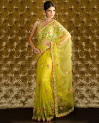 lemon yellow hand work net saree u2013 panache haute couture