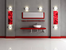 excellent two tone white and red bathroom themes added single