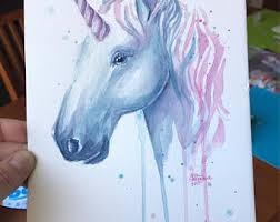 blue horse painting etsy