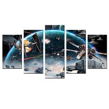 5 panel wall decor canvas star wars outer space modern painting