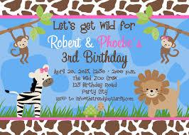 Printable Birthday Party Invitation Cards Photo Birthday Invitations Jungle 1st Birthday Party Monkey