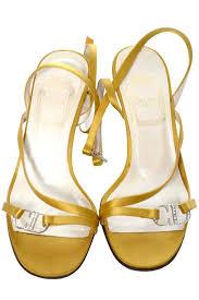 Rhinestone Sandal Heels Gold Vintage Christian Dior Shoes Strappy Sandals Rhinestones Size