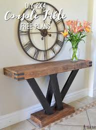 Free Simple Wood Clock Plans by 2x4 Console Table 2x4 Lumber Rustic Console Tables And Console