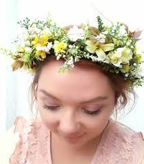 wedding flower hair flower hair wreath yellow white green myosotis wedding bridal hair