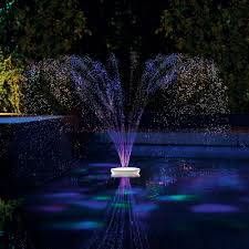 Lighted Water Fountains Outdoor by The Floating Lighted Pool Fountain Hammacher Schlemmer Water