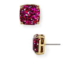 glitter stud earrings lyst kate spade new york small square glitter stud earrings in